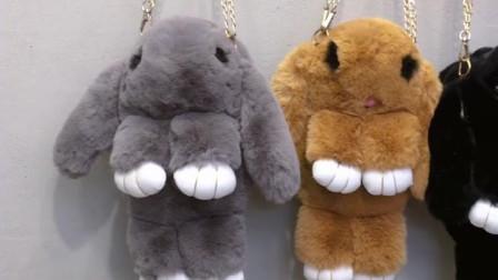 毛绒小包包女,2019春夏新款,纯色毛毛包,小清新可爱装死兔,单肩斜挎包