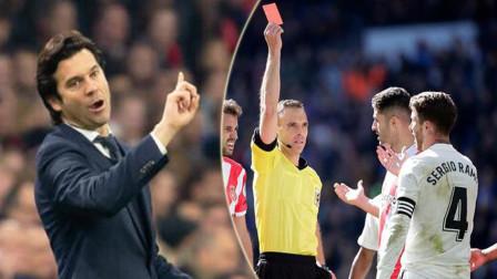 拉莫斯联赛欧冠双停赛:洗完黄牌洗红牌?满血战巴萨,索拉里拒回应