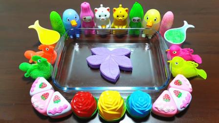 紫色风叶混合宠物泥、闪粉、三角蛋糕、玫瑰花,diy无硼砂泥,会成功吗