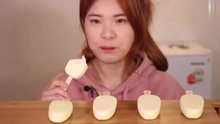 韩国吃播:大胃王豪放派吃香浓芝士奶油冰淇淋雪糕,这生活太幸福了