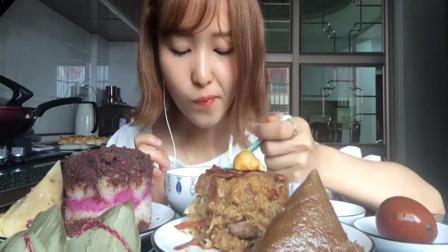 吃播小姐姐:今天吃肉松培根烧肉八宝饭,这么多,吃完不腻吗?