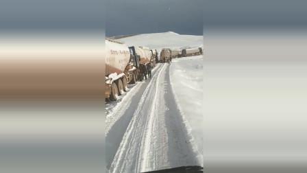 唐古拉山路面结冰, 连罐车老司机们都走不动了