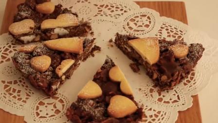 「烘焙教程」巧克力爱心酥脆蛋糕,百吃不厌越嚼越香