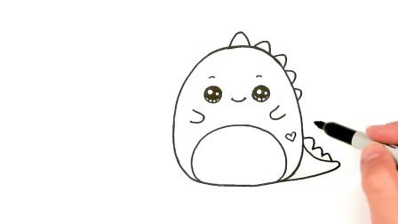 绘画教程 如何画一只可爱的怪物小恐龙儿童简笔画