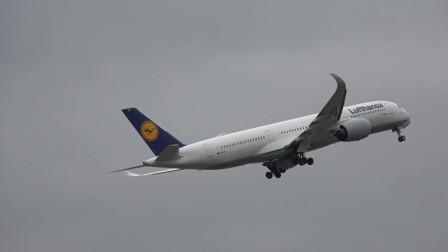 汉莎航空A350宽体客机曼彻斯特国际机场起飞