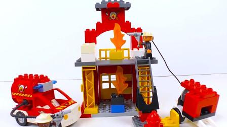 乐高积木消防基地消防车工程车玩具车