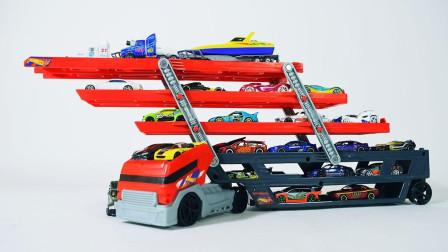 许多的小汽车玩具来到大卡车的车厢