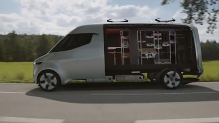 奔驰顶级快递车,内部结构太科幻,关键还装载无人机!