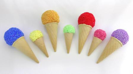 学习儿童的颜色|冰淇淋杯玩泡沫惊喜与玩具Shopkins Minions |儿童教育视频