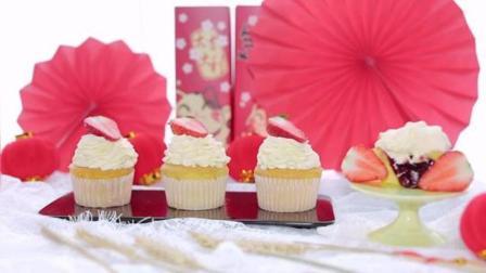少女心满满的草莓夹心纸杯蛋糕