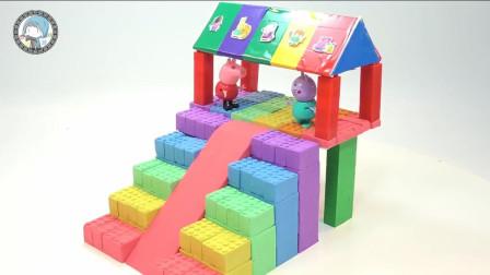 孩子们的手工DIY趣味乐园,和孩子们用太空沙帮助小猪佩奇制作游乐园!