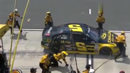 赛车比赛中突发自燃后,才是F1专业人员换胎的霸气之处!