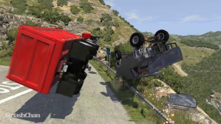 BeamNG模拟卡车下坡失控碰撞