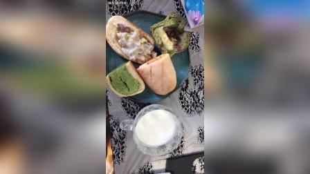 zn的面包+抹茶奶酥+抹茶三倍吐司