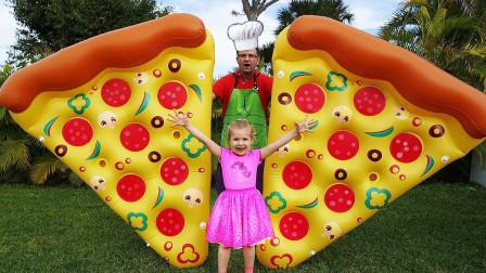 太神奇了,萌宝小萝莉的披萨竟变得那么大,到底发生了什么事?