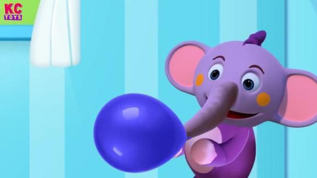 趣味动画学英语 动物朋友过生日 做草莓蛋糕 吹打气球