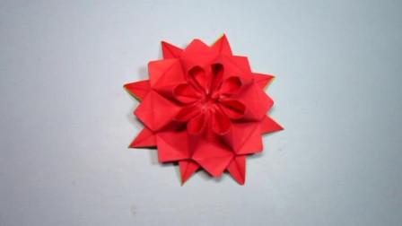 手工折纸,花朵的折法,一张纸折出漂亮的大红花