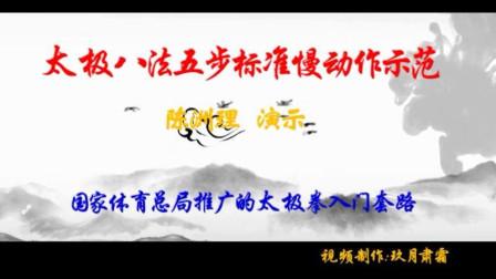 太极八法五步教学 标准慢动作 陈洲理示范(字幕,双屏显示细节),国家体育总局推广