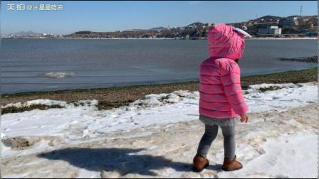 来海边玩雪
