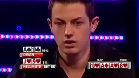 德州扑克:毒王Dwan翻牌竟中天葫芦!老对手击中同花,他会弃掉吗