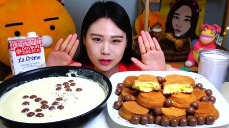 甜食控看过来,吃货放送……韩国卡妹吃热量爆炸的蛋糕