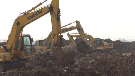 工程车挖掘机工作表演视频 孩子看一上午也不走 原因是太喜欢了