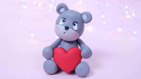 黏土软陶手工:DIY创意手工制作可爱的抱爱心熊视频