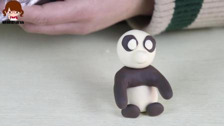 """儿童手工彩泥教学:可爱的""""小熊猫""""捏制方法很简单,一学就会"""