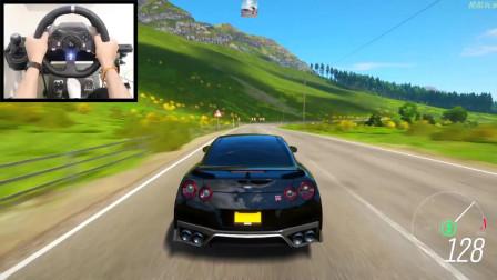 极限竞速地平线4:驾驶日产GTR在英国道路上行驶,这风景太美丽了