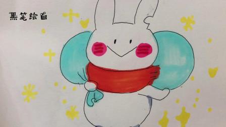 黑筆繪白背行李的兔子繪畫教學很適合新手畫畫的幾種簡單卡通人物
