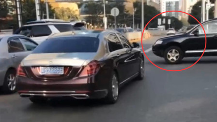 途锐看见了迈巴赫,马上一脚刹车让开路,这求生欲真强!