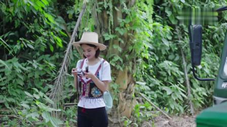 赵丽颖独自走在森林的小道上,被劫到了一辆拖拉机上