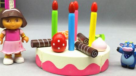 红果果水果切切看 可爱的朵拉过生日!切蔬菜水果和生日蛋糕啦!