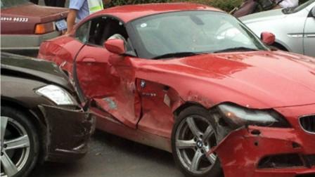 卡宴宝马发生剐蹭,卡宴男狂叫嚣,女司机默默上车一脚油门撞断他的腿
