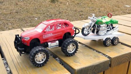 越野车拖车摩托车道路救援汽车模型 儿童玩具车视频大全