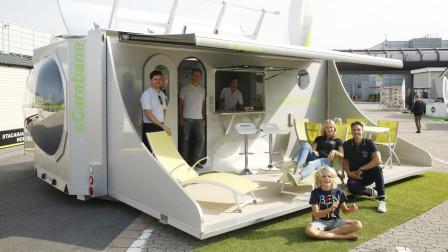 能自主供电的房车,展开变成小别墅,拥有40平米空间
