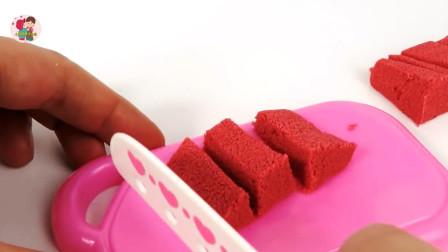 用动感沙做蛋糕做点心玩游戏过家家,儿童玩具亲互动