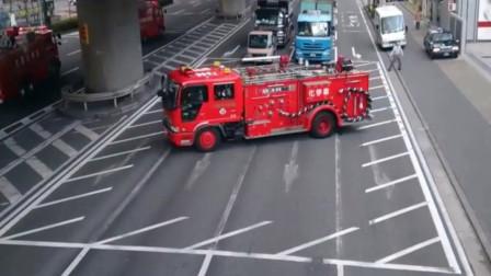 日本消防车出动,所有车都得边上等着!