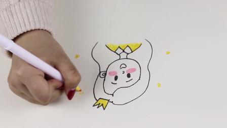 简笔画教程:三分钟教会你画可爱小女孩,最近超火的小头像,快来给自己画一个吧