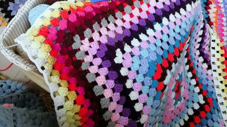 织一片慢生活—消灭零线回字形盖毯手工编织毯子教程编织视频完整