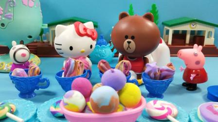 灵犀小乐园之美食小能手 凯蒂猫的冰淇淋聚会,佩奇和布朗熊都来了