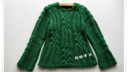 翡翠如意女士套头毛衣棒针编织视频教程,前后衣片织法(1)