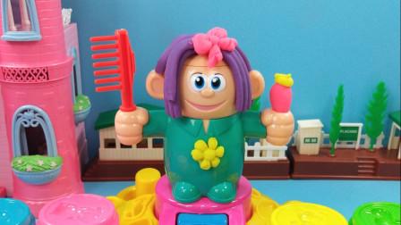灵犀小乐园之美食小能手 开心理发店创造新发型,花轮头和波波头