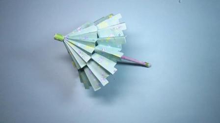 手工折纸,油纸伞的折法,漂漂亮亮好喜欢轻松就能折会