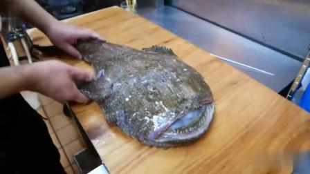 大厨将这么丑陋的安康鱼做成刺身,不知道是什么味的,真的不便宜