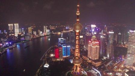 上海|航拍陆家嘴,夜景下的金融外滩