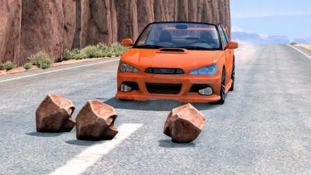 前方一堆石块却没提醒牌,汽车猛冲过去这也太惨了!拟真汽车模拟
