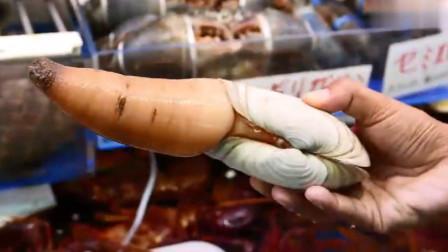 日本大厨处理象拔蚌,鲜活的象拔蚌被做成刺身,真的是太新鲜了