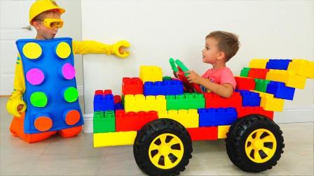 萌娃乐园:小小工程师用乐高玩具拼接汽车,电视机