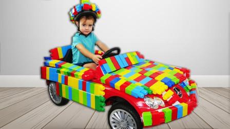 好聪明,萌宝小萝莉把积木粘在车子上竟变成了积木汽车?咋回事?